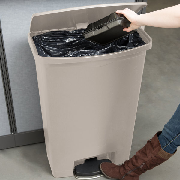 Rubbermaid 1883552 Slim Jim Resin Beige Front Step-On Trash Can with Built-In Wheels - 24 Gallon