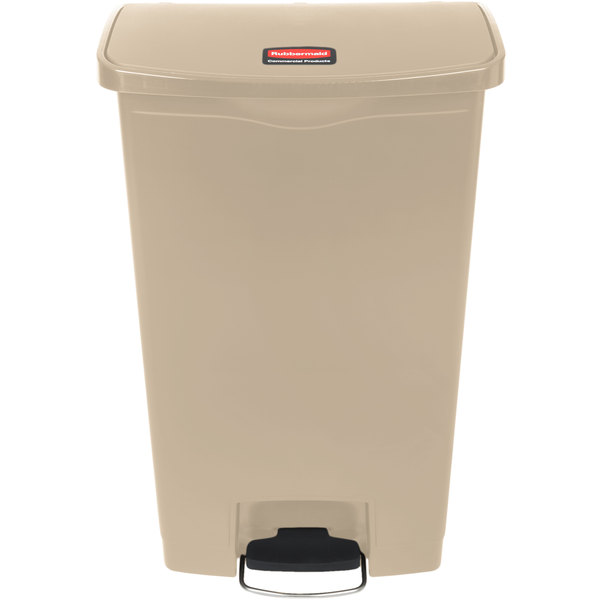 Rubbermaid 1883460 Slim Jim Resin Beige Front Step-On Trash Can - 18 Gallon