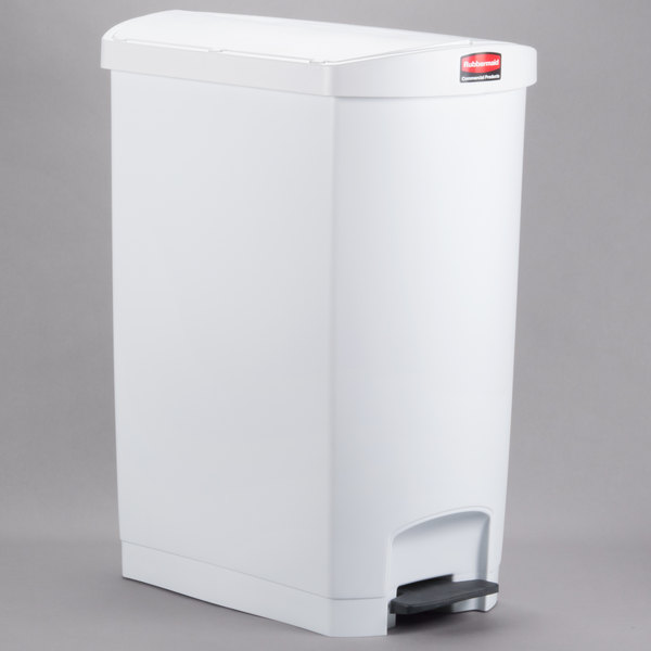 Rubbermaid 1883562 Slim Jim Resin White End Step-On Trash Can with Rigid  Plastic Liner - 96 Qt  / 24 Gallon