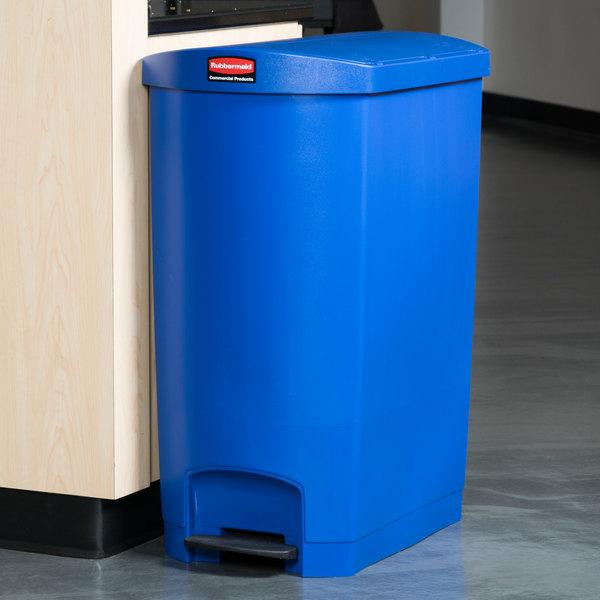 rubbermaid slim jim resin blue end stepon trash can with rigid plastic liner 24 gallon