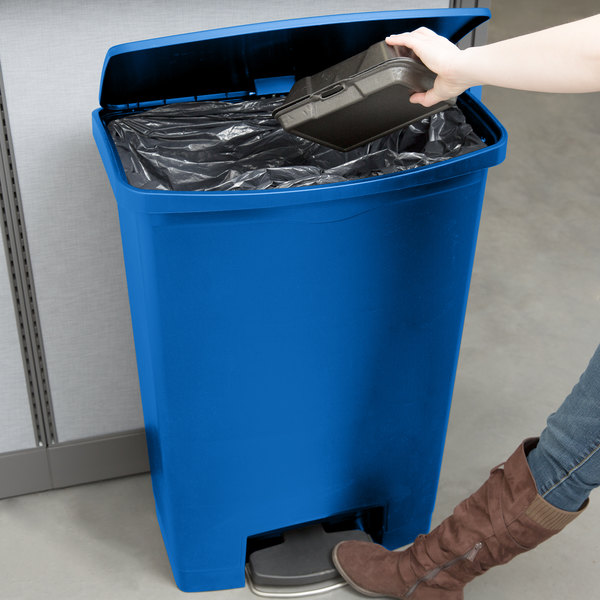 rubbermaid slim jim resin blue front stepon trash can with builtin wheels 24 gallon