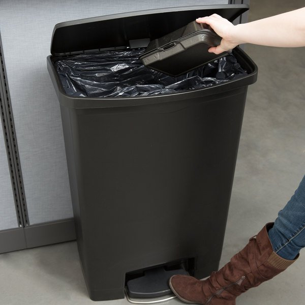 Rubbermaid 1883615 Slim Jim Resin Black Front Step-On Trash Can with Built-In Wheels - 24 Gallon
