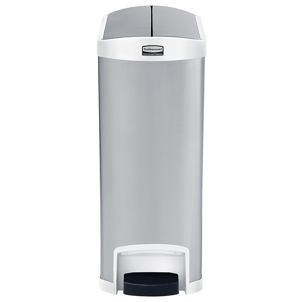 Rubbermaid 1902005 Slim Jim Stainless Steel White Accent End Step-On Trash Can with Single Rigid Plastic Liner - 24 Gallon
