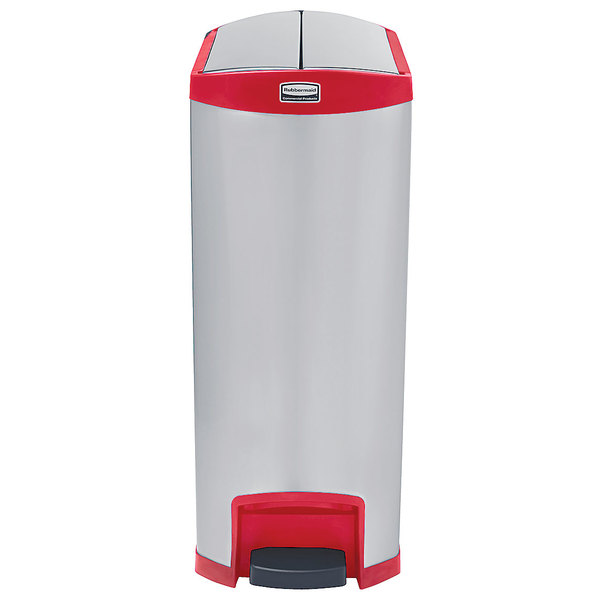 Rubbermaid 1902003 Slim Jim Stainless Steel Red Accent End Step-On Trash Can with Single Rigid Plastic Liner - 24 Gallon
