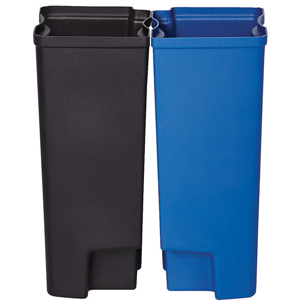 Rubbermaid 1902007 Slim Jim Black and Blue Dual Waste and Recycling Plastic Liner Set for 8 Gallon Stainless Steel End Step-On Trash Can