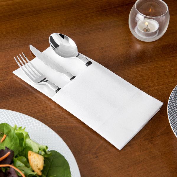 Touchstone by Choice White Linen-Feel Pocket Fold Dinner Napkin - 50/Pack Main Image 2