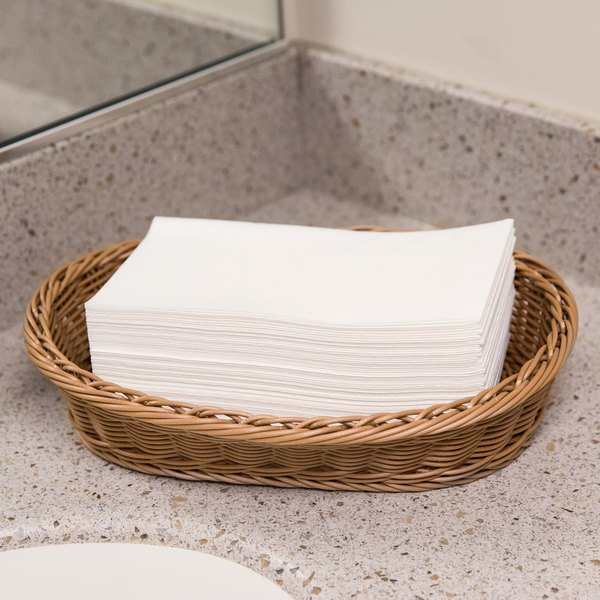 Lavex Lodging Linen-Feel White 1/6 Fold Guest Towel - 100/Pack