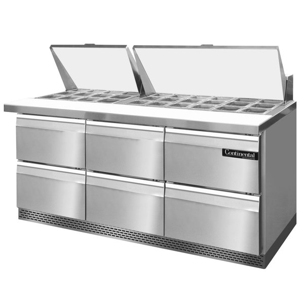 "Continental Refrigerator SW72-30M-FB-D 72"" 6 Drawer Mighty Top Front Breathing Refrigerated Sandwich Prep Table"