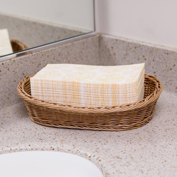 Lavex Lodging Linen-Feel Elite 1/6 Fold Guest Towel - 100/Pack
