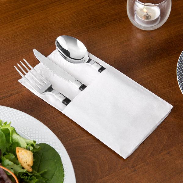 "Choice 15"" x 17"" ReadyNap White Pocket Fold Dinner Napkin - 50/Pack"