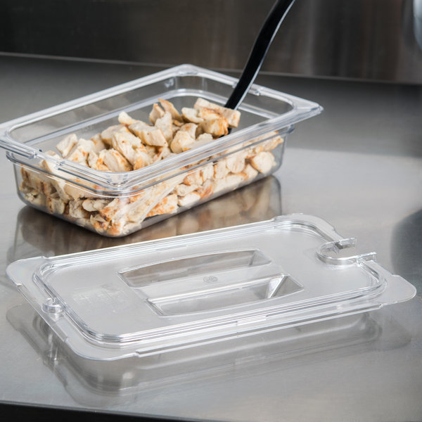 Carlisle 10291U07 StorPlus 1/4 Size Clear Universal Handled Lid with Spoon Notch Main Image 7