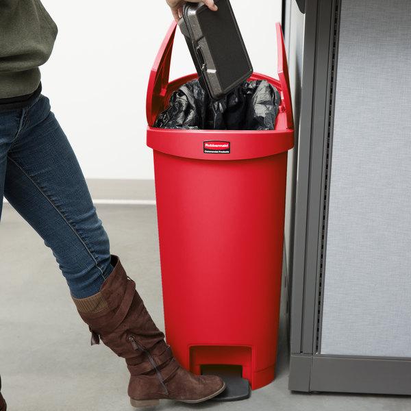 Rubbermaid 1883567 Slim Jim Resin Red End Step On Trash Can