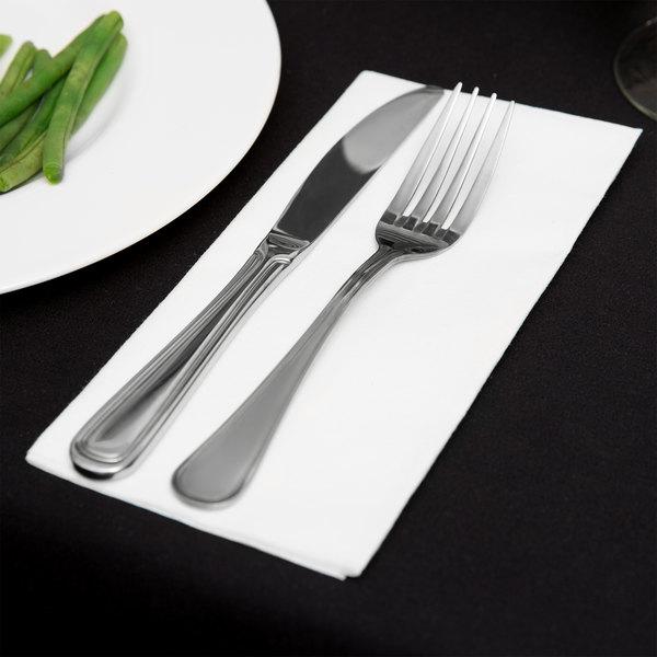 Touchstone by Choice White Linen-Feel 1/8 Fold Dinner Napkin - 50/Pack Main Image 2