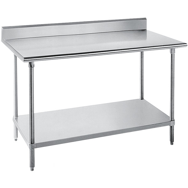 "Advance Tabco SKG-245 24"" x 60"" 16 Gauge Super Saver Stainless Steel Commercial Work Table with Undershelf and 5"" Backsplash"