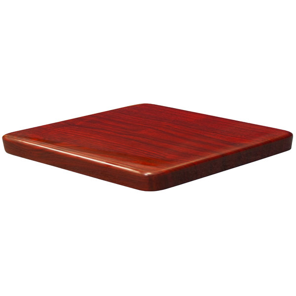 "American Tables & Seating ATR3636-M Resin Super Gloss 36"" Square Table Top - Mahogany"
