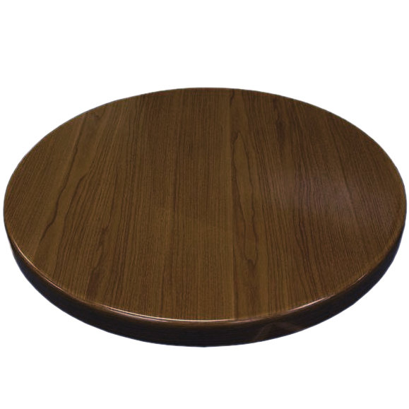 """American Tables & Seating ATR24-W Resin 24"""" Round Table Top - Walnut"""
