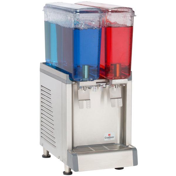 Crathco Mini CS-2E-16S Double 2.4 Gallon Bowl Premix Cold Beverage Dispenser with Spray Function
