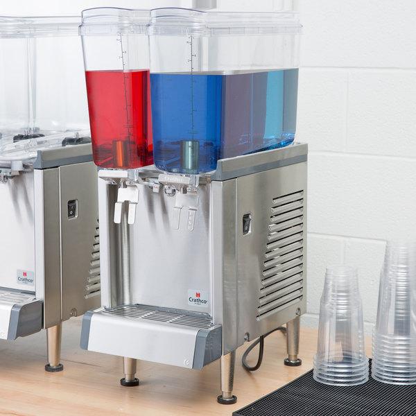 Crathco Mini CS-2E-16 Simplicity Bubbler Series Double 2.4 Gallon Bowl Premix Cold Beverage Dispenser with Agitation Function