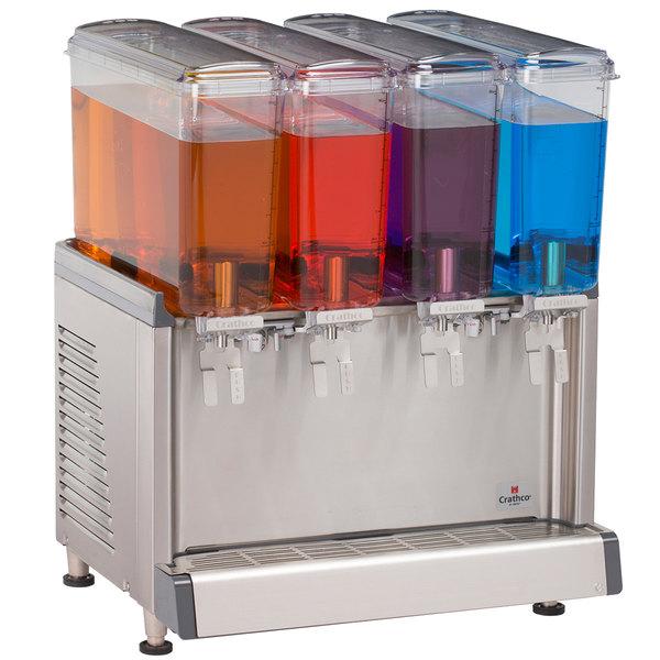 Crathco Mini-Quad CS-4E-16 Simplicity Bubbler Series Quadruple 2.4 Gallon Bowl Premix Cold Beverage Dispenser with Agitation Function