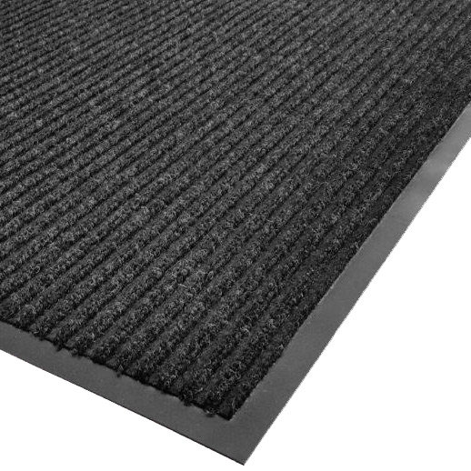 "Cactus Mat 1485R-L3 3' x 60' Charcoal Needle Rib Carpet Mat Roll - 3/8"" Thick Main Image 1"