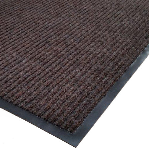 "Cactus Mat 1485R-B4 4' x 60' Brown Needle Rib Carpet Mat Roll - 3/8"" Thick Main Image 1"
