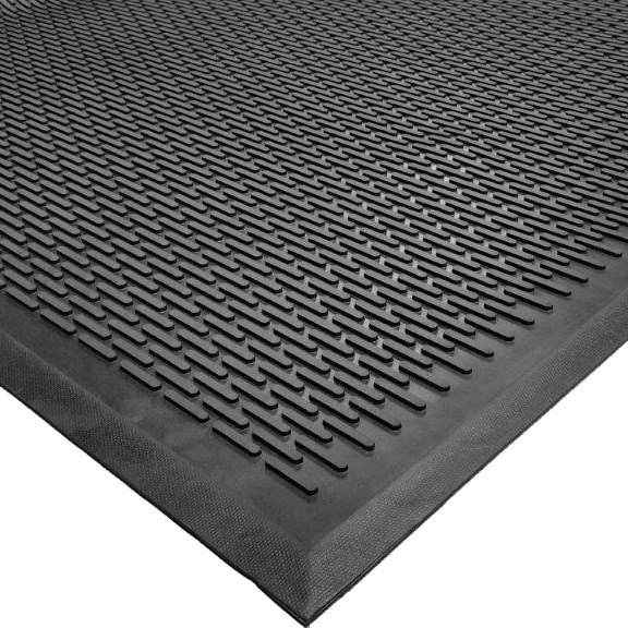 "Cactus Mat 1625M-C31 Ridge-Scraper 3' x 10' Heavy-Duty Rubber Safety Mat - 3/8"" Thick"