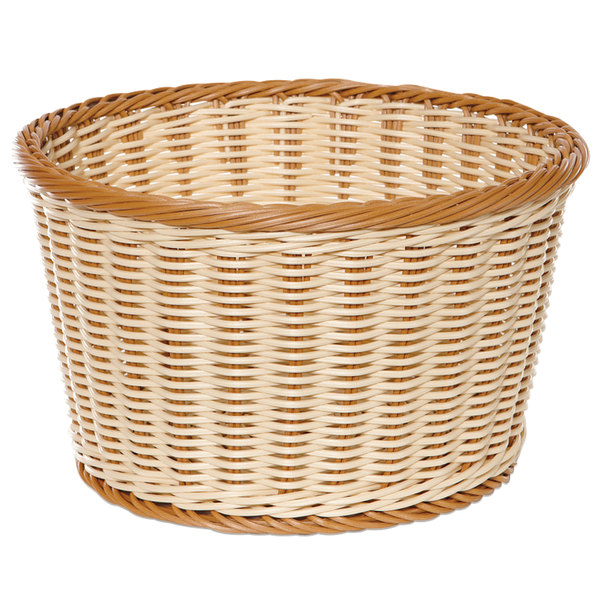 "GET WB-1521-TT Designer Polyweave 12"" x 7"" Two-Tone Round Plastic Basket - 6/Pack Main Image 1"