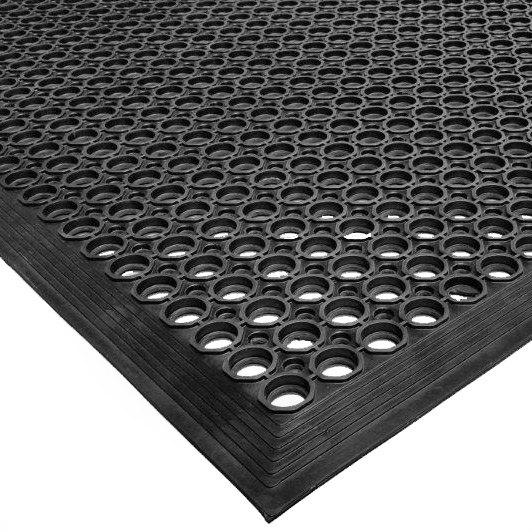 "Cactus Mat 2530-C20 VIP TopDek Junior 3' x 19' 6"" Black Rubber Anti-Fatigue Floor Mat - 1/2"" Thick"