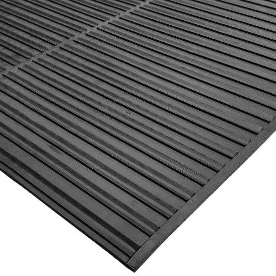 "Cactus Mat 1631R-C3 Ni-Rib 3' x 60' Black Solid Nitrile Rubber Runner Mat Roll - 1/4"" Thick Main Image 1"