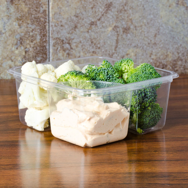 Fabri-Kal Greenware GS6-2 2-Compartment Clear PLA Compostable Container - 50/Pack
