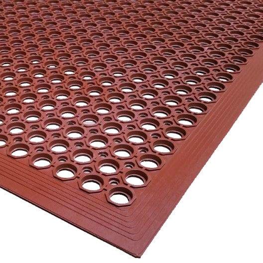"Cactus Mat 2530-R15 VIP TopDek Junior 3' x 14' 8"" Red Grease-Resistant Anti-Fatigue Floor Mat - 1/2"" Thick"
