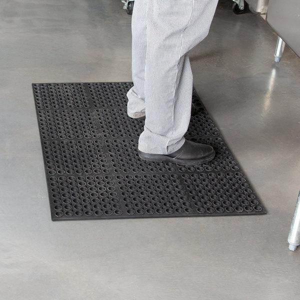 "Cactus Mat 2521-C3 VIP Lite 29"" x 39"" Black Rubber Anti-Fatigue Floor Mat - 1/2"" Thick"