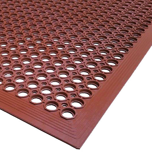 """Cactus Mat 2522-R20 VIP TopDek Senior 3' x 19' 6"""" Red Heavy-Duty Grease-Resistant Anti-Fatigue Floor Mat - 1/2"""" Thick"""