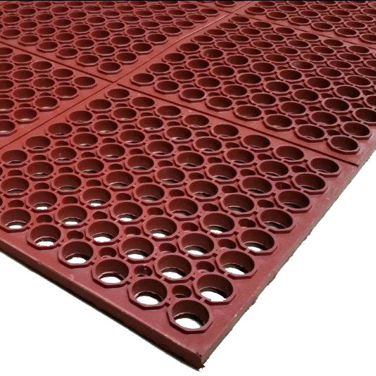 "Cactus Mat 3525-R3 VIP TuffDek 3' x 3' Red Heavy-Duty Grease-Resistant Rubber Anti-Fatigue Floor Mat - 7/8"" Thick"