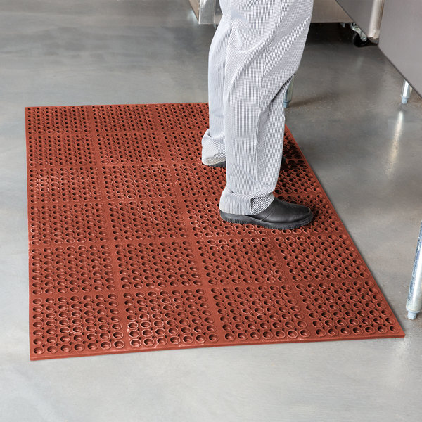 """Cactus Mat 2521-R1S VIP Lite 58 1/2"""" x 39"""" Red Grease-Resistant Rubber Anti-Fatigue Floor Mat - 1/2"""" Thick"""