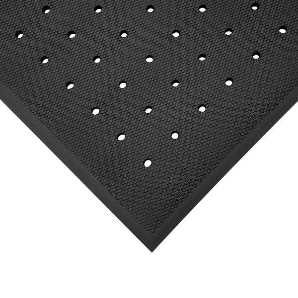 "Cactus Mat 2200-35H VIP Black Cloud 3' x 5' Black Rubber Floor Mat with Drainage Holes - 3/4"" Thick Main Image 1"