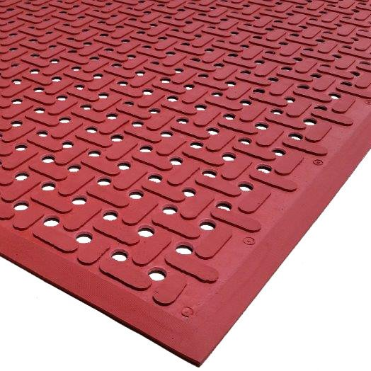 """Cactus Mat 2540-R15 VIP Guardian 3' x 15' Red Grease-Proof Anti-Fatigue Floor Mat - 1/4"""" Thick"""