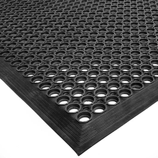 "Cactus Mat 2522-C15 VIP TopDek Senior 3' x 14' 8"" Black Heavy-Duty Rubber Anti-Fatigue Floor Mat - 1/2"" Thick"