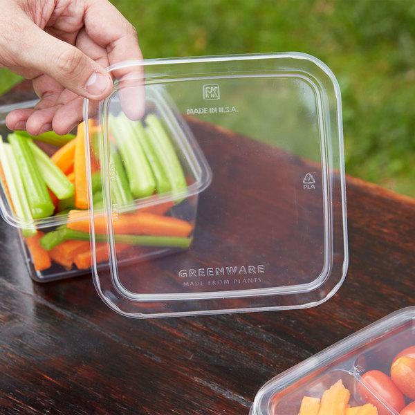 Fabri-Kal LGS6 Greenware Clear PLA Plastic Compostable Lid - 50/Pack Main Image 3