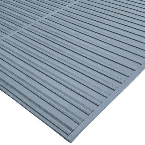 "Cactus Mat 1631R-E4 Ni-Rib 4' x 60' Gray Solid Nitrile Rubber Runner Mat Roll - 1/4"" Thick"