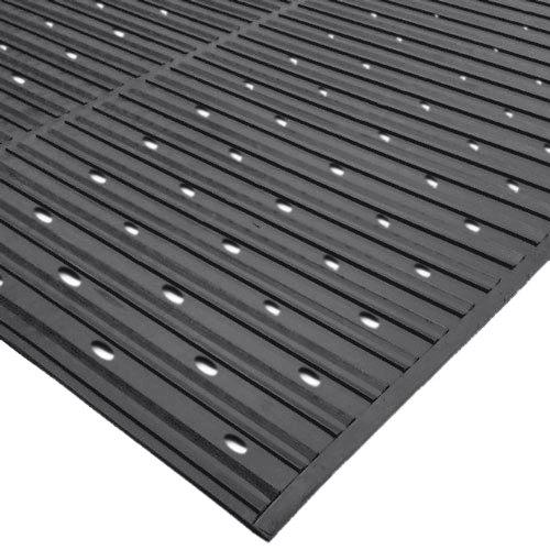 "Cactus Mat 1631R-C4V Ni-Rib 4' x 60' Black Perforated Nitrile Rubber Runner Mat Roll - 1/4"" Thick"