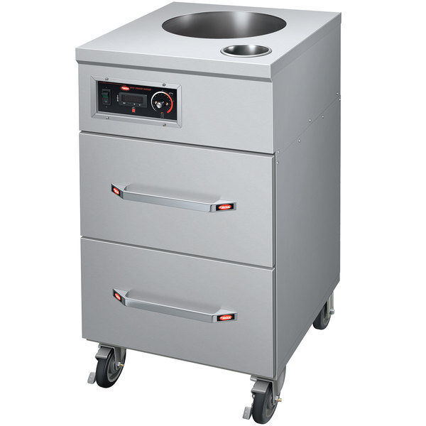 Hatco HRDW-2U-1 Two Drawer Rice Warmer with Top Heated Well, Utensil Well, and Pan- 120V, 1150W