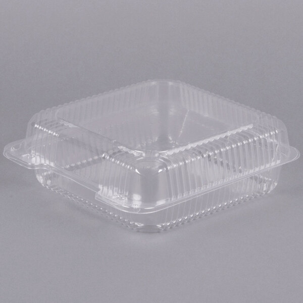 Dart C55UT1 StayLock 9 inch x 8 5/8 inch x 3 inch Clear Hinged Plastic Large Container - 200/Case