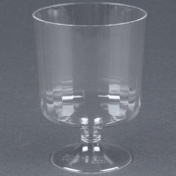 WNA Comet CCW8240 Classicware 8 oz. 1-Piece Clear Plastic Pedestal Wine Cup  - 240/Case