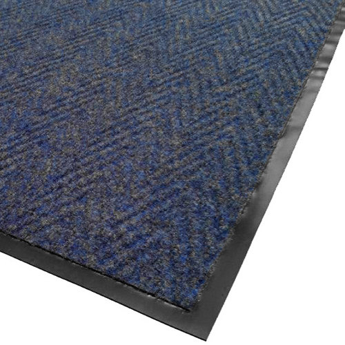 "Cactus Mat 1487M-U34 Chevron Rib Herringbone 3' x 4' Blue Scraper Mat - 3/8"" Thick"
