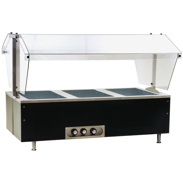 Eagle Group CDHT3 Deluxe Service Mates Three Pan Open Well Tabletop Hot Food Buffet Table with Enclosed Base - 240V, 3 Phase