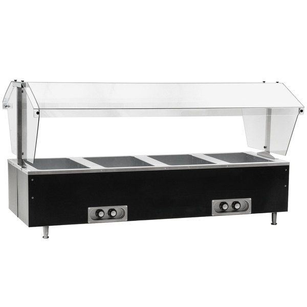 Eagle Group CDHT4 Deluxe Service Mates Four Pan Open Well Tabletop Hot Food Buffet Table with Enclosed Base - 240V, 3 Phase