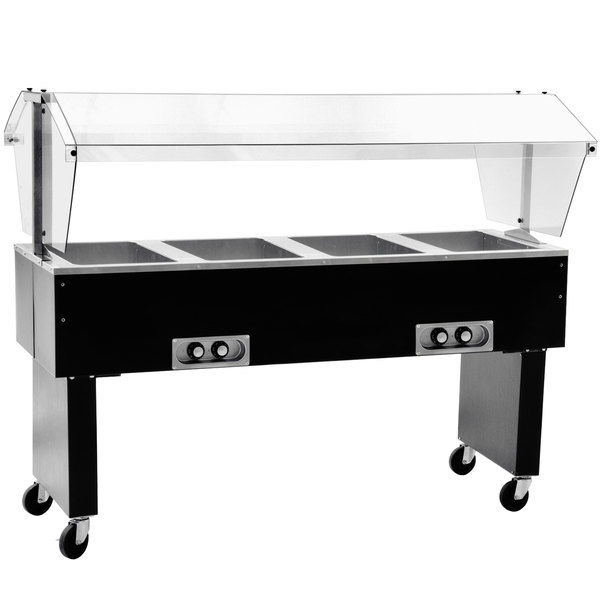 Eagle Group BPDHT4 Deluxe Service Mates Four Pan Open Well Portable Hot Food Buffet Table with Open Base - 240V, 1 Phase