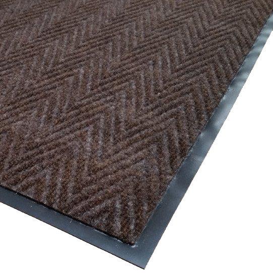 "Cactus Mat 1487R-B4 Chevron Rib Herringbone 4' x 60' Brown Scraper Mat Roll - 3/8"" Thick"