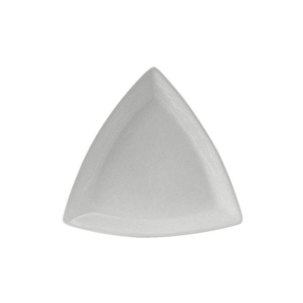 "Tuxton BWZ-1108 DuraTux 11"" White Triangle China Plate - 12/Case"